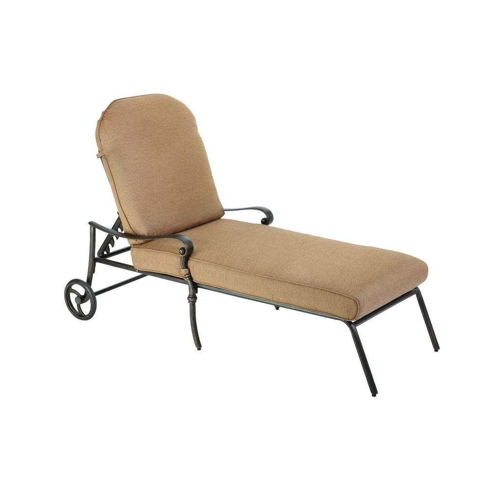 Hampton Bay Edington 2013 Adjustable Patio Chaise Lounge with Textured Umber Cushions-DISCONTINUED