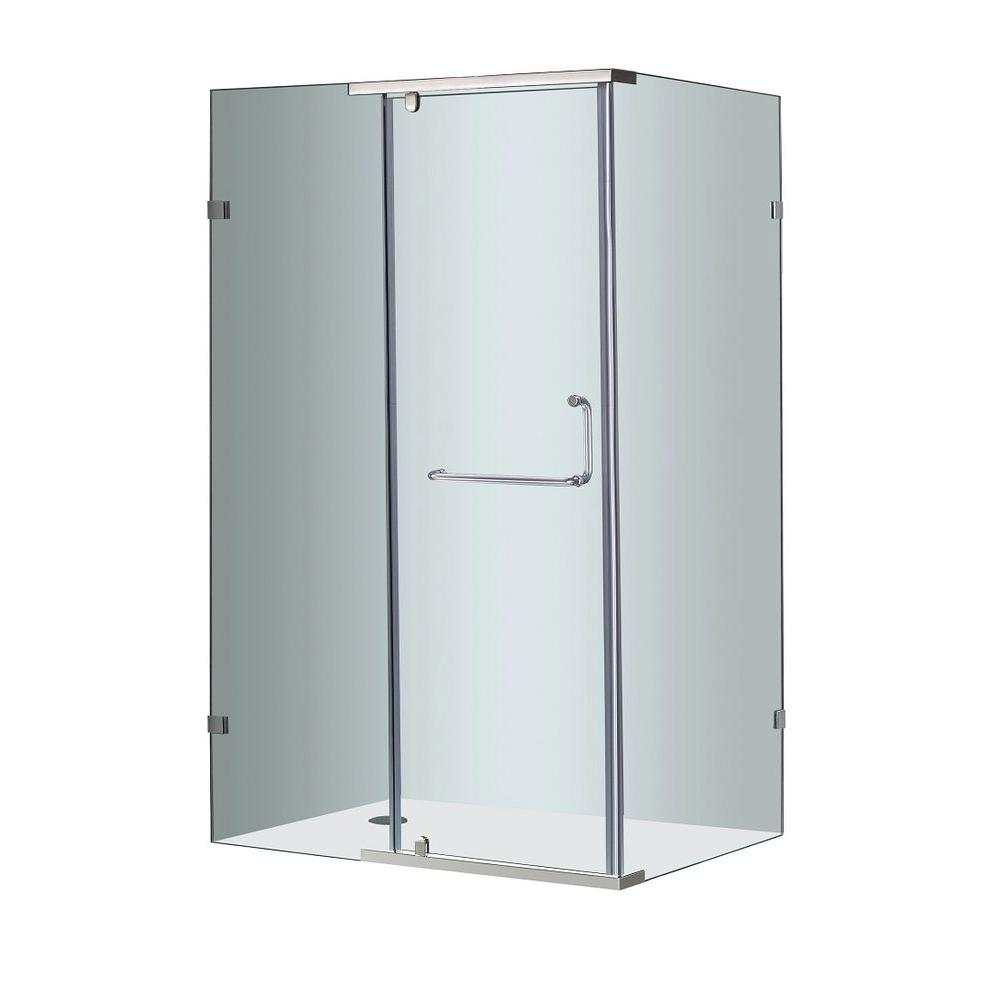 Aston SEN975 48 in. x 35 in. x 75 in. Semi-Framed Shower Enclosure in Stainless Steel with Clear Glass