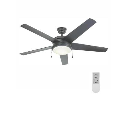 Portwood 60 in. LED Natural Iron Ceiling Fan and WiFi Remote Control works with Google and Alexa