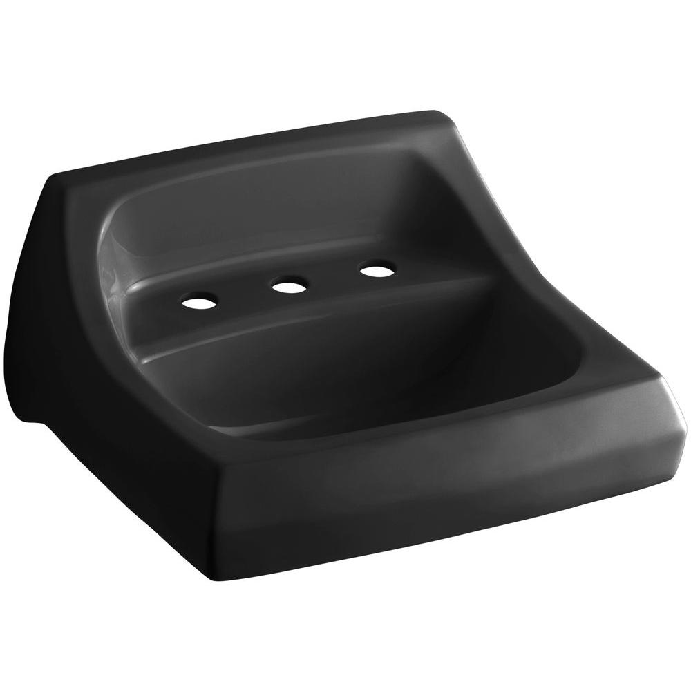 Kingston Wall-Mount Vitreous China Bathroom Sink in Black Black with Overflow