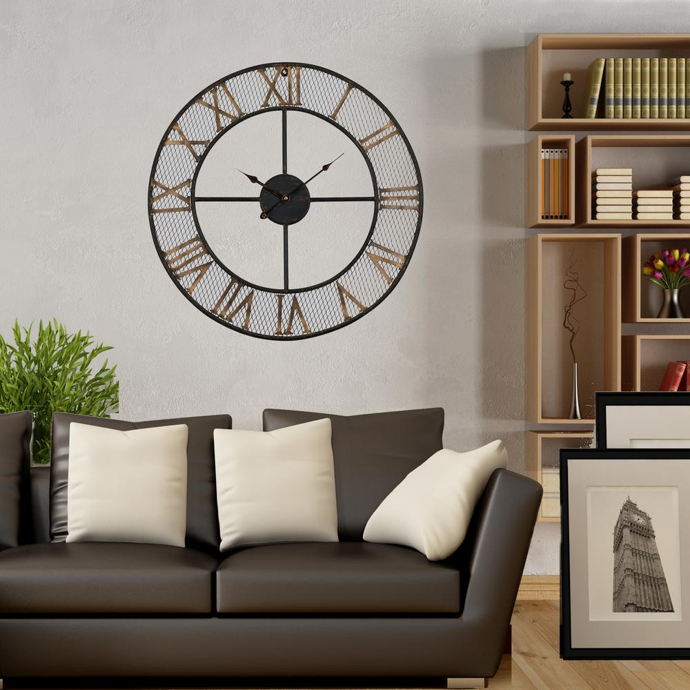 Utopia Alley Mesh Rustic Roman 24 in. Bronze/Gold Round Wall Clock ...