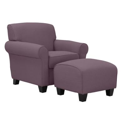 Winnetka Arm Chair and Ottoman in Amethyst Purple Linen