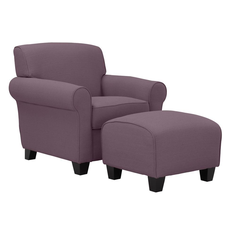 Winnetka Arm Chair and Ottoman in Amethyst Purple Linen