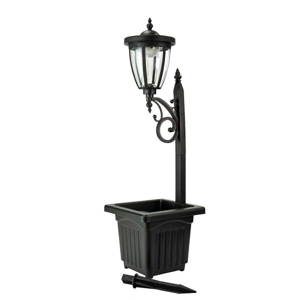 Sunray Kambria 29 In Black Multi Function Outdoor Solar Lamp Post And Planter
