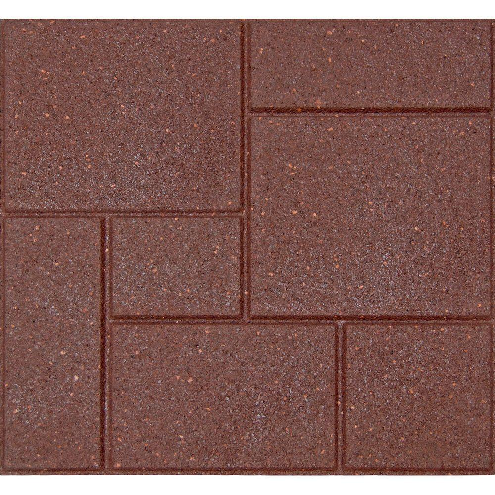 Envirotile Cobblestone 18 in. x 18 in. Terra Cotta Rubber Paver (4-Case)