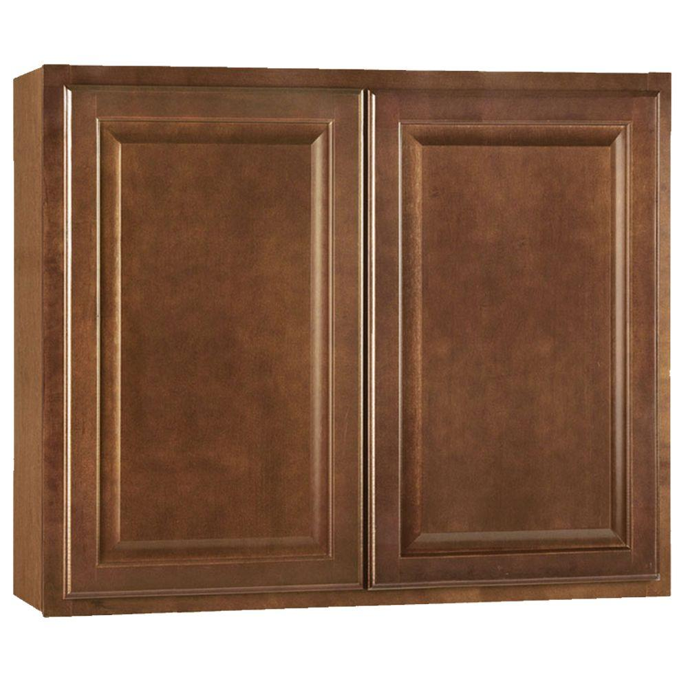 Hampton Bay Embled 36x30x12 In Wall Kitchen Cabinet Cognac