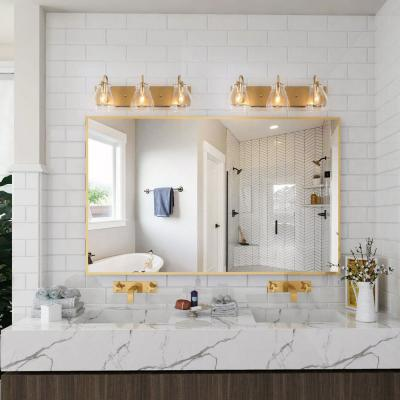 Ismo 22 in. 3-Light Gold Modern Bath Light Indoor Wall Sconce with Clear Glass Shades