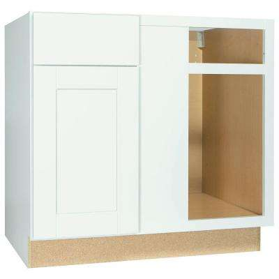 Shaker Assembled 36x34.5x24 in. Blind Base Corner Kitchen Cabinet in Satin White