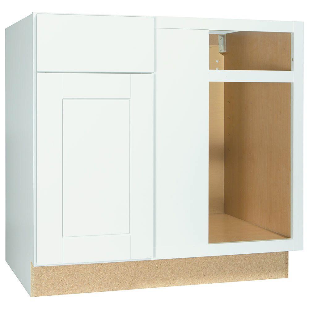Shaker Assembled 36x34.5x24 in. Blind Base Corner Kitchen Cabinet in Satin White