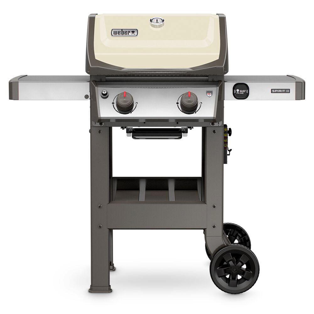 weber spirit ii e 210 2 burner propane gas grill in ivory 44060001 the home depot. Black Bedroom Furniture Sets. Home Design Ideas