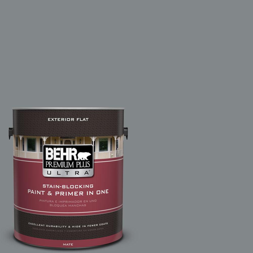BEHR Premium Plus Ultra 1 gal. #N500-5 Magnetic Gray Color Flat Exterior Paint