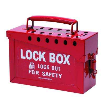 Portable Metal Lock Box in Red