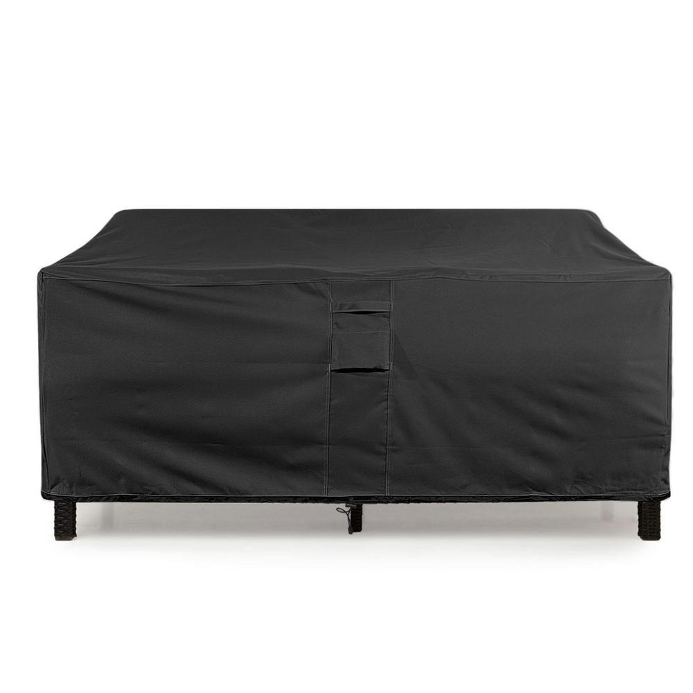 KHOMO GEAR Medium Black Love Seat Weatherproof Outdoor Patio Sofa Protector Cover