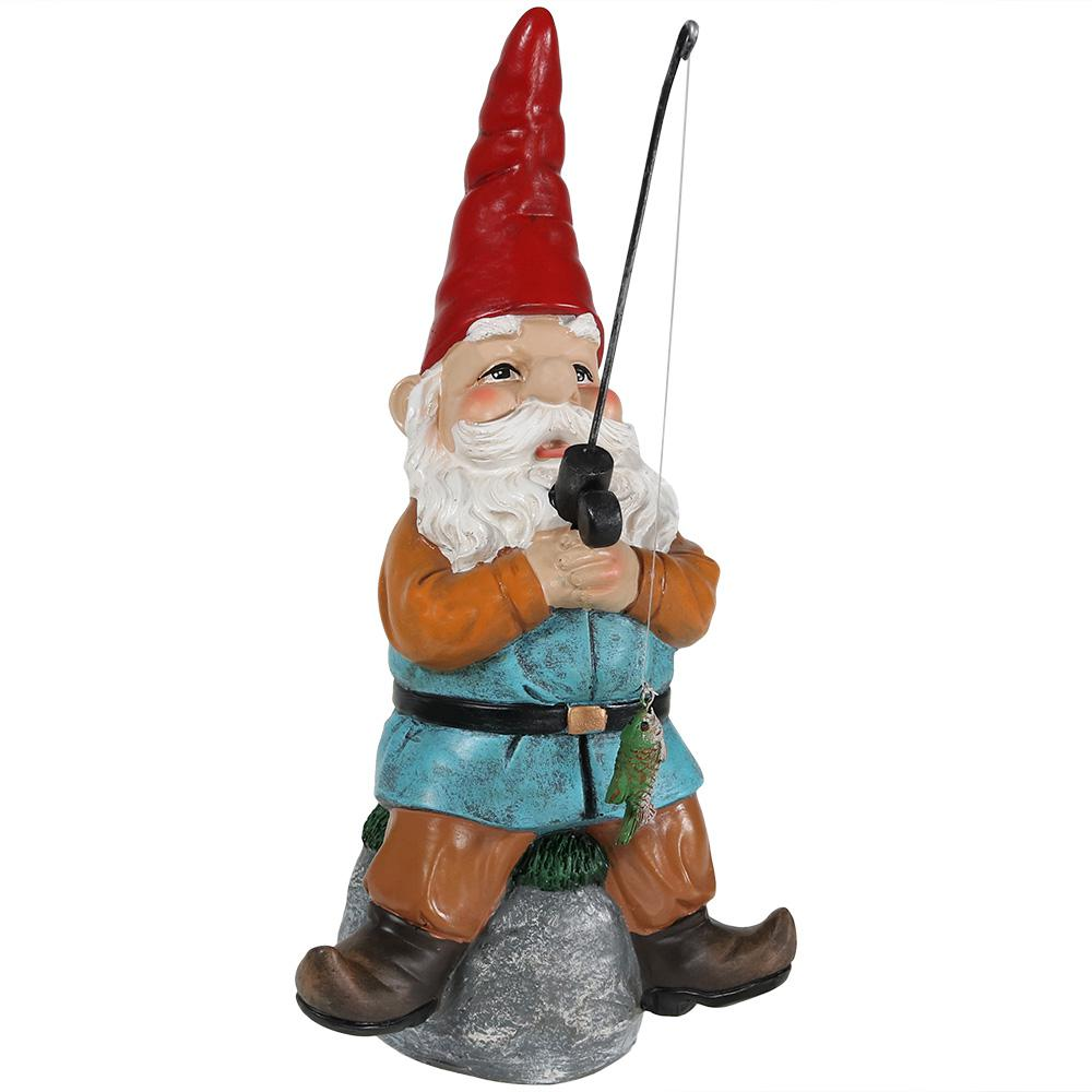Sunnydaze Decor 12 in. Floyd the Fishing Gnome Garden Statue