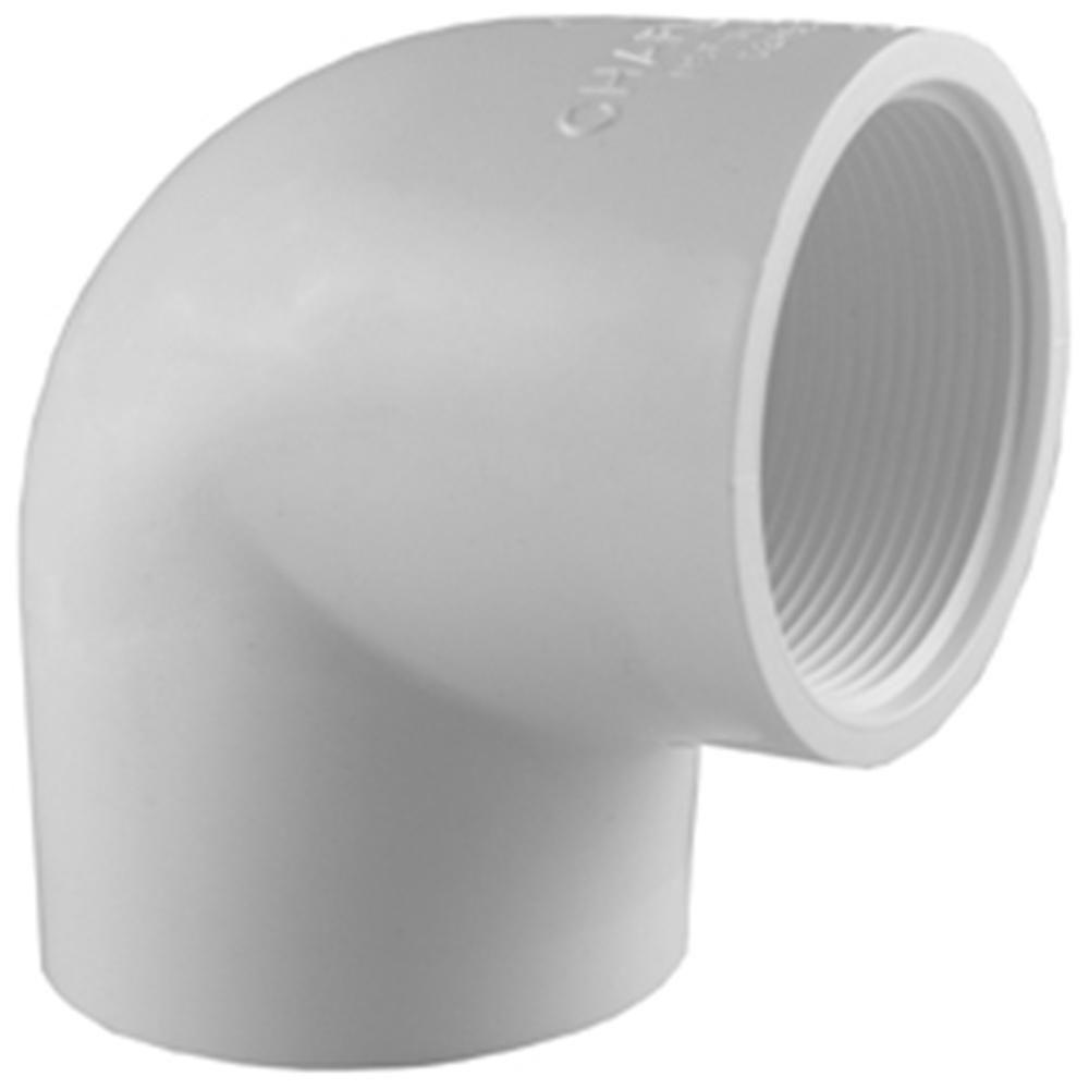 Charlotte Pipe 90 Degree Elbow Fpt X Fpt 1-1//2  Gray Schedule 80 Pvc