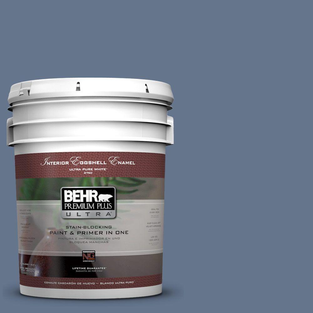 BEHR Premium Plus Ultra 5-gal. #BXC-75 Saltbox Blue Eggshell Enamel Interior Paint