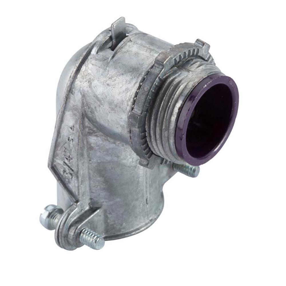 Halex 1 in. Flexible Metal Conduit (FMC) 90° Insulated Throat Connector