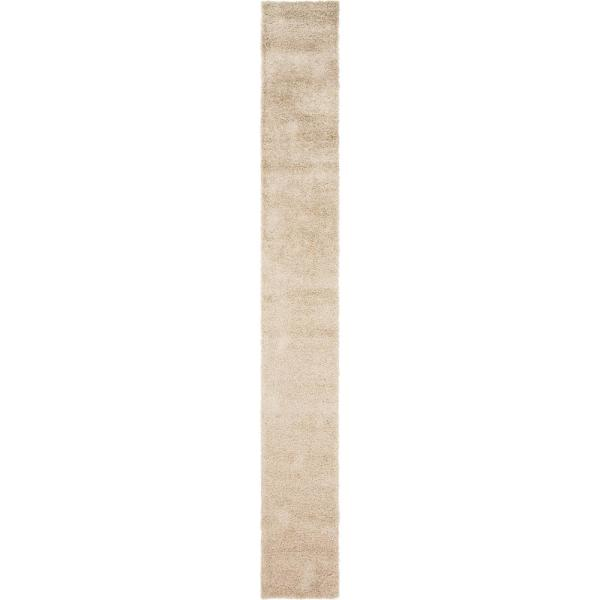Solid Shag Taupe 20 ft. Runner Rug