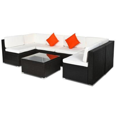 CASAINC Black 7-Piece Wicker Patio Conversation Set with CushionGuard White Cushions and Glass Top Wicker Coffee Table