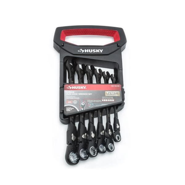 100-Position Flex-Head Ratcheting Wrench Set SAE (6-Piece)