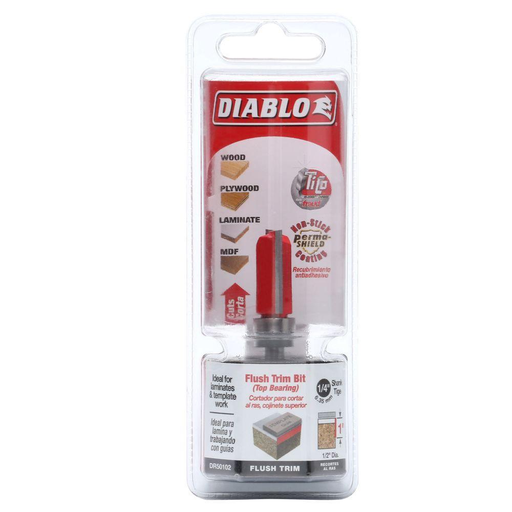 Diablo 1/2 inch x 1 inch Carbide Top-Bearing Flush Trim Router Bit by Diablo