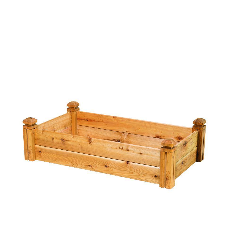 Natural Cedar Raised Garden Beds: 24 In. X 11 In. X 48 In. Cedar Elevated Garden Bed-GLCP