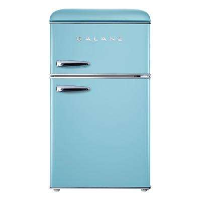 3.1 cu. ft. Retro Mini Fridge with Dual Door True Freezer in Blue