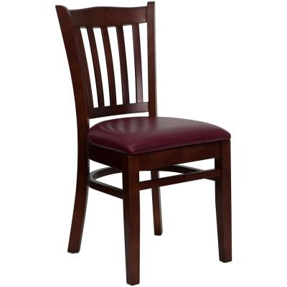 Hercules Series Mahogany Vertical Slat Back Wooden Restaurant Chair with Burgundy Vinyl Seat