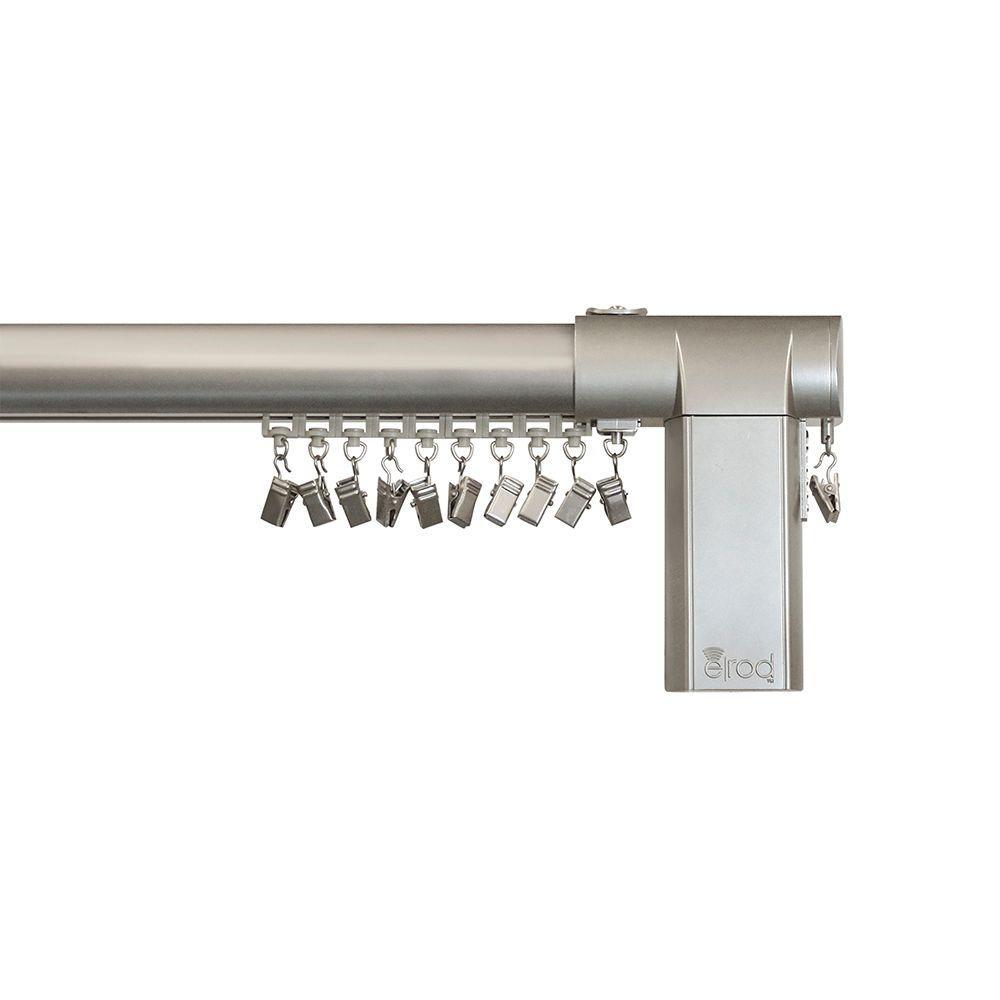 80 - 144 in. Side-Open Remote Control Telescoping Drapery Rod Kit in Nickel