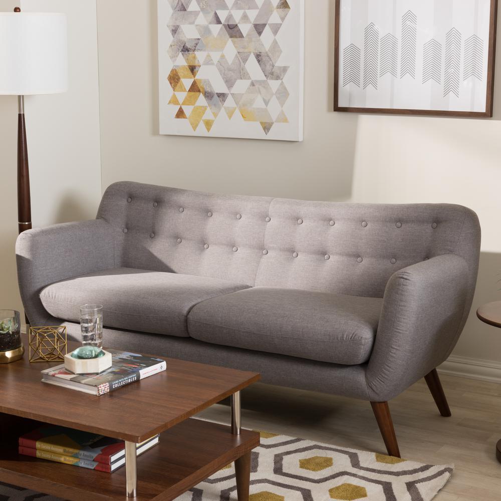 Baxton Studio Harper Mid Century Light Gray Fabric Upholstered Sofa