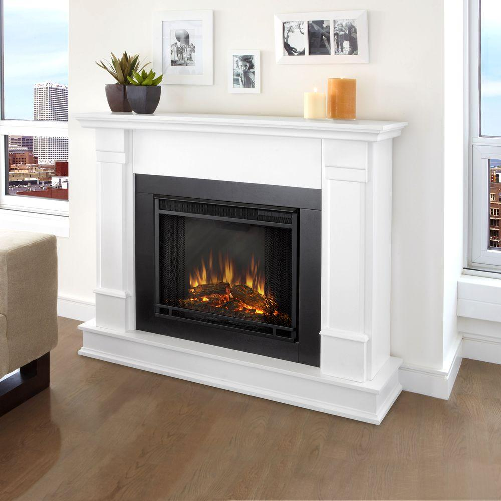 real flame silverton 48 in electric fireplace in white g8600e w rh homedepot com  buy fake fireplace logs