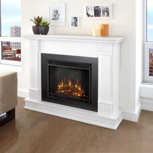 Real Flame Silverton 48 inch Electric Fireplace in White by Real Flame