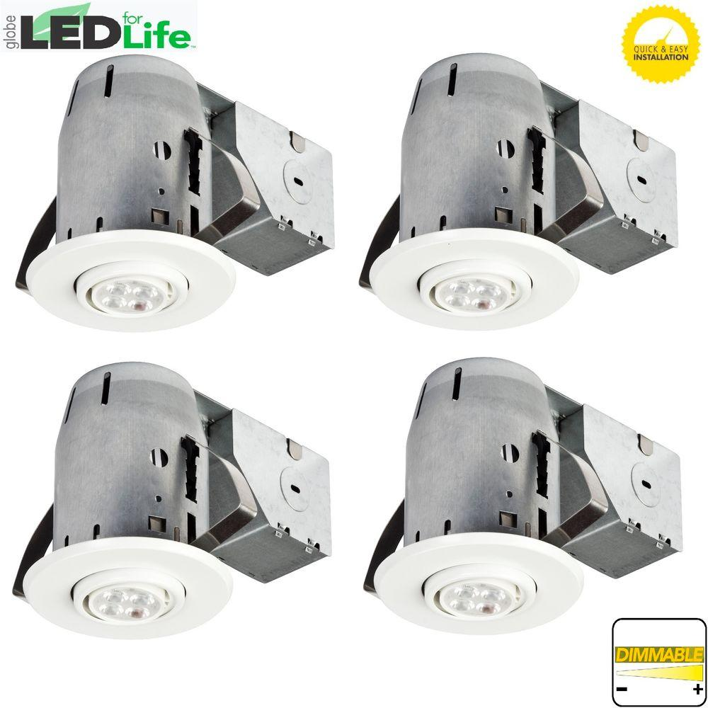 3 in. White IC Rated Dimmable Recessed Lighting Kit, LED Bulbs