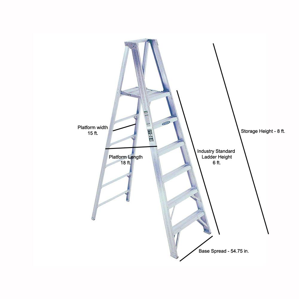 Werner 12 Ft Reach Aluminum Platform Step Ladder With 375 Lb Load Capacity Type Iaa Duty Rating P406 The Home Depot