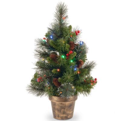 Crestwood Spruce Tree with Battery Operated Multicolor LED Lights