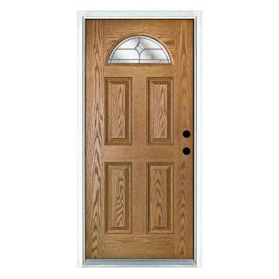 36 in. x 80 in. Valentia Light Oak Left-Hand Inswing Fan Lite Decorative Fiberglass Prehung Front Door