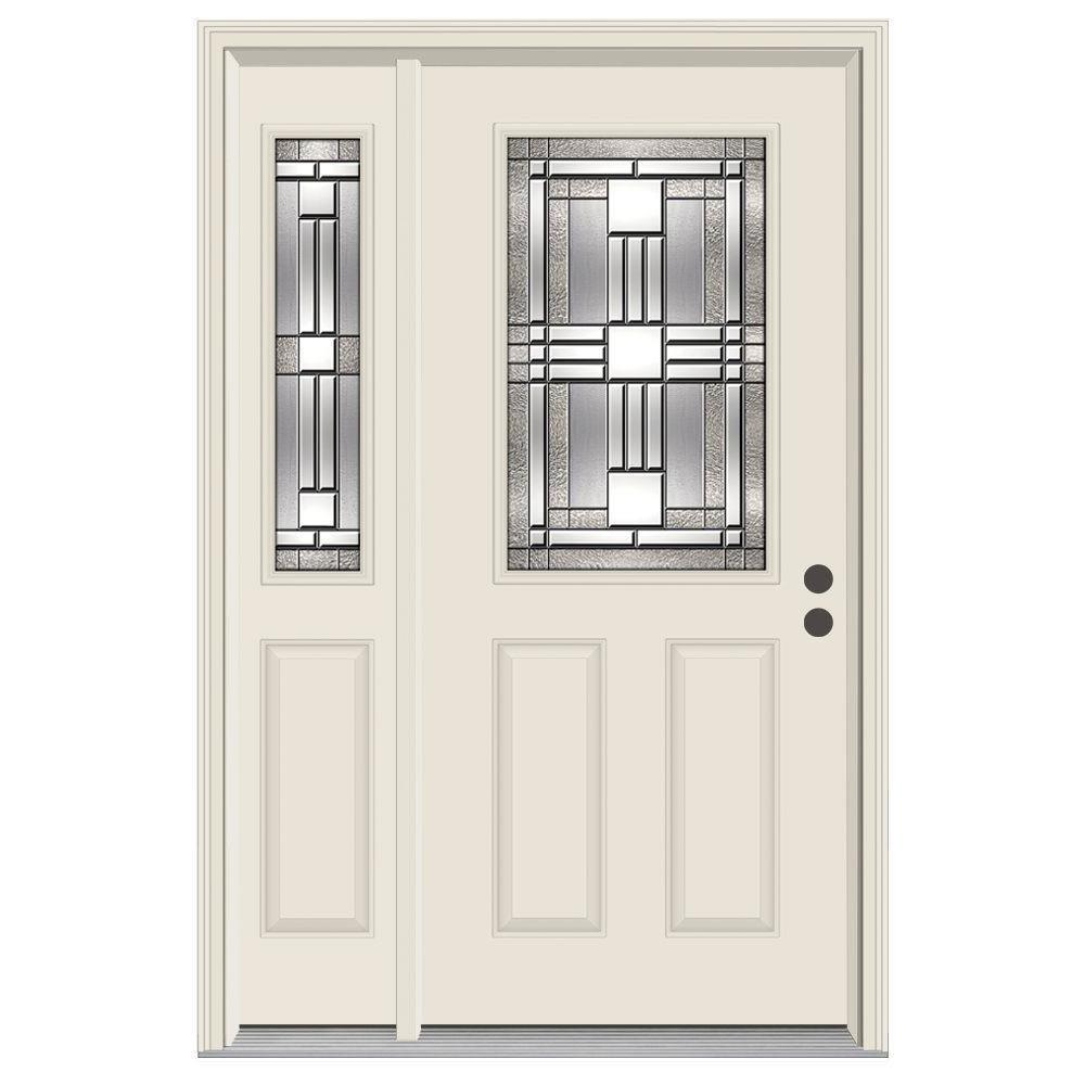 52 in. x 80 in. 1/2 Lite Cordova Primed Steel Prehung Left-Hand Inswing Front Door with Left-Hand Sidelite