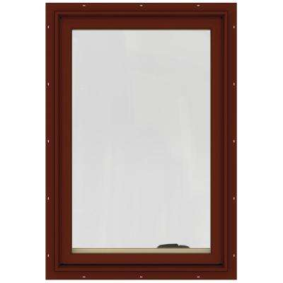 24.75 in. x 36.75 in. W-2500 Series Red Painted Clad Wood Left-Handed Casement Window with BetterVue Mesh Screen