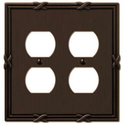 Ribbon and Reed 2 Duplex Wall Plate - Aged Bronze