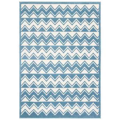 Whimsical White / Light Blue 4 ft. x 6 ft. Indoor Area Rug