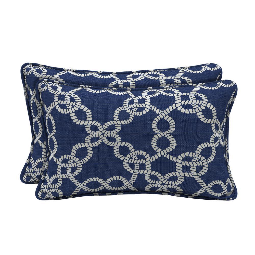 Sunbrella Ahoy Rivera Lumbar Outdoor Throw Pillow (2-Pack)