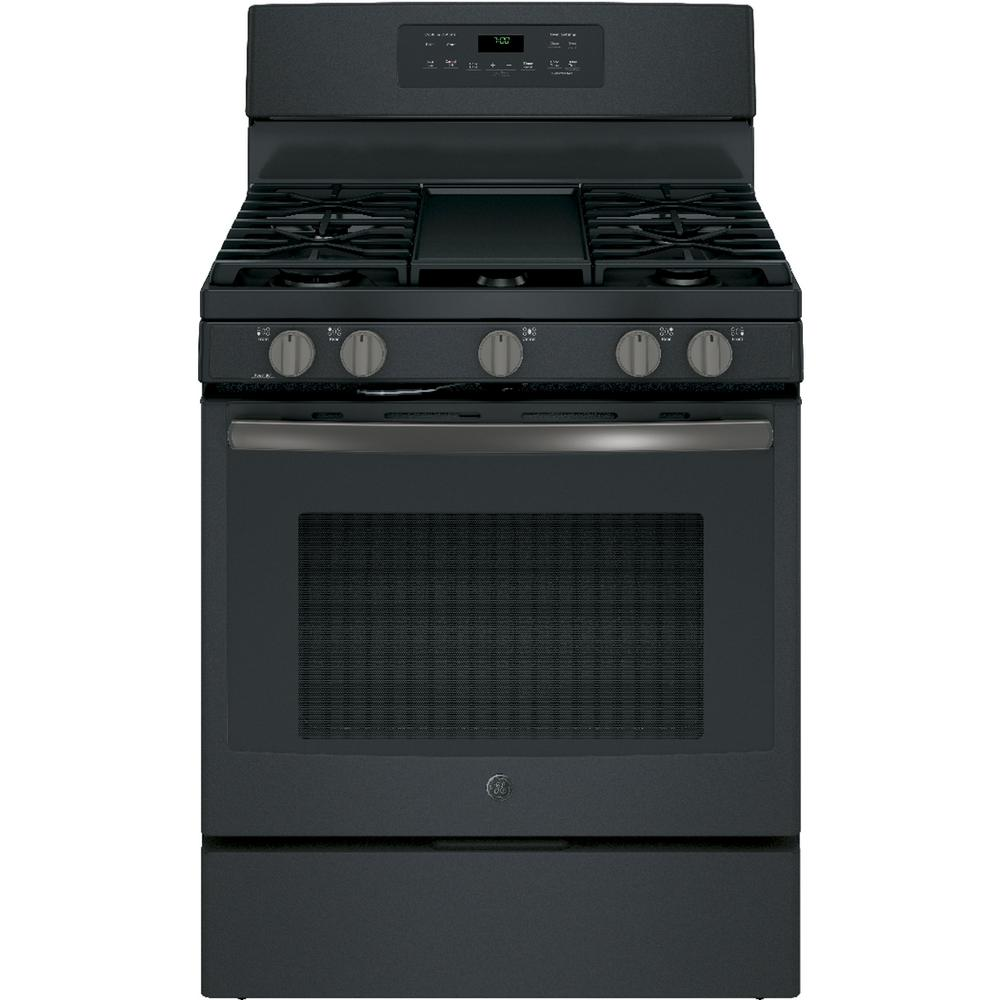 GE 5.0 cu. ft. Gas Range with Self-Cleaning Convection Oven in Black Slate, Fingerprint Resistant