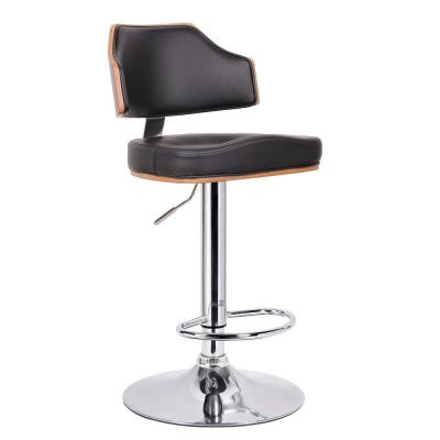 Cabell Brown Wood and Black Faux Leather Adjustable Bar Stool