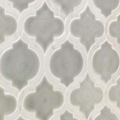 Oracle Arabesque Tundra 9-7/8 in. x 11-3/4 in. x 10mm Glazed Ceramic Mosaic Tile