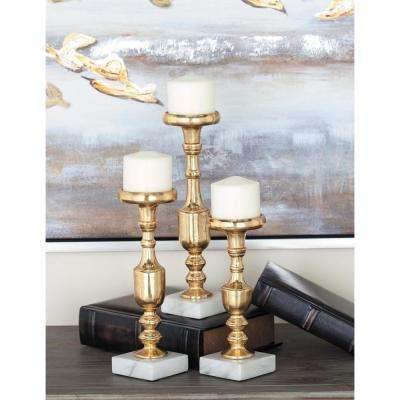 Modern Gold-Finished Aluminum Baluster Candle Holders (Set of 3)