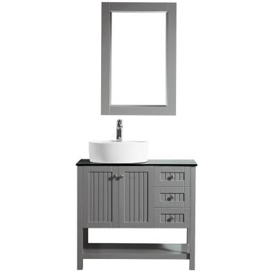 Modena 36 in. Bath Vanity in Grey with Tempered Glass Vanity Top in Black with White Vessel Sink and Mirror