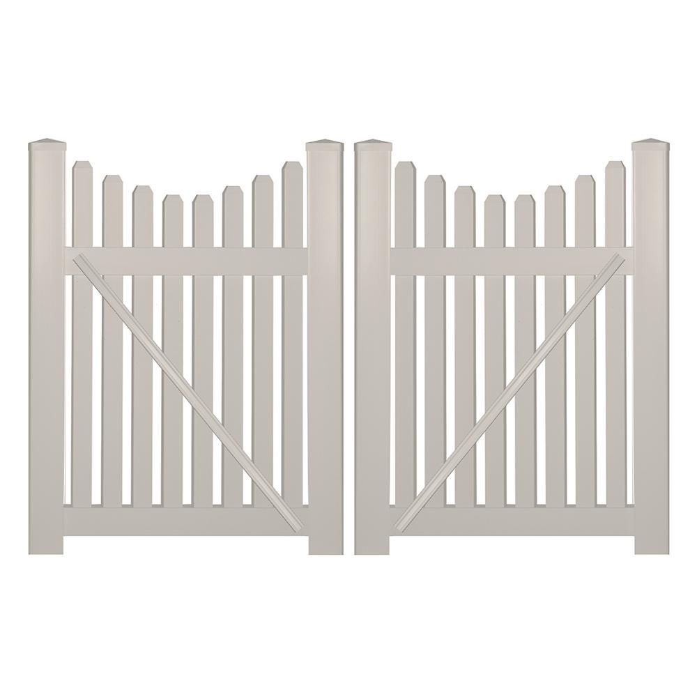 picket fence double gate. Plain Picket H Tan Vinyl Picket Fence Double To Gate A