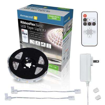 RibbonFlex Home 16 ft. LED Warm White Strip Light Kit with Remote