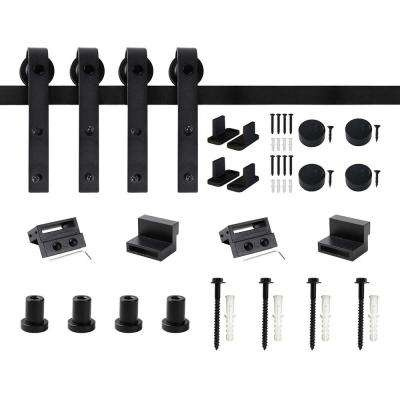 60 in. Frosted Black Sliding Barn Door Hardware Track Kit for Double Doors with Non-Routed Floor Guide