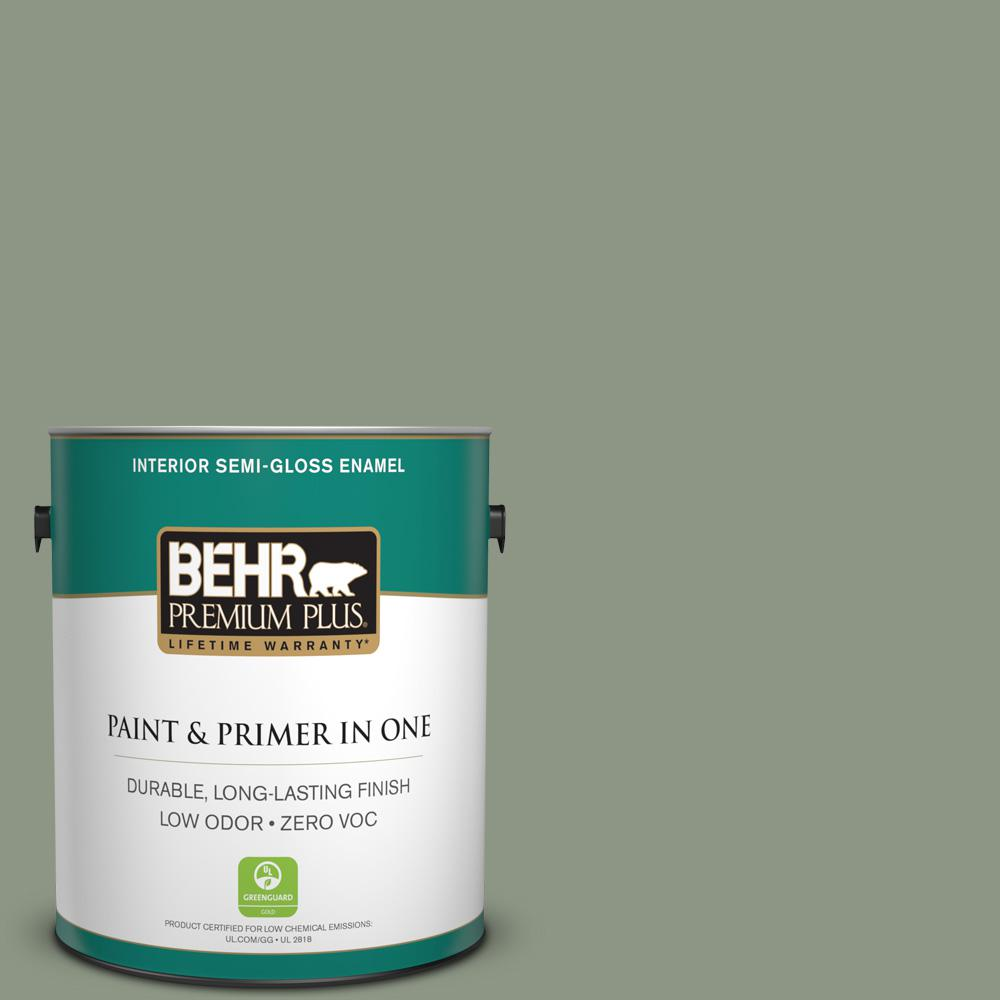 1 gal. #PPU11-17 Hillside Green Zero VOC Semi-Gloss Enamel Interior Paint
